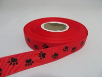 2 metre or Full Roll (20 mtrs) 16mm Paw Print Grosgrain Double Ribbon Dog Pet